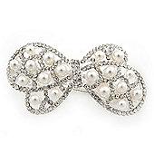 Bridal Wedding Prom Silver Tone Simulated Pearl Diamante 'Bow' Barrette Hair Clip Grip - 65mm Acros