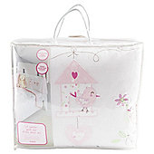 TESCO GIRL  COT BUMPER QUILT AND FITTED SHEET SET