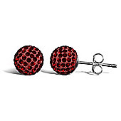 Jewelco London Sterling Silver Crystal 8mm garnet colour studs Shamballa Earrings