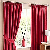 """Homescapes Red Lined Curtain Pair Swirl Design 46x90"""""""
