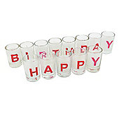 Set of White Coloured 'Happy Birthday' Celebration Candles in Glass Holder