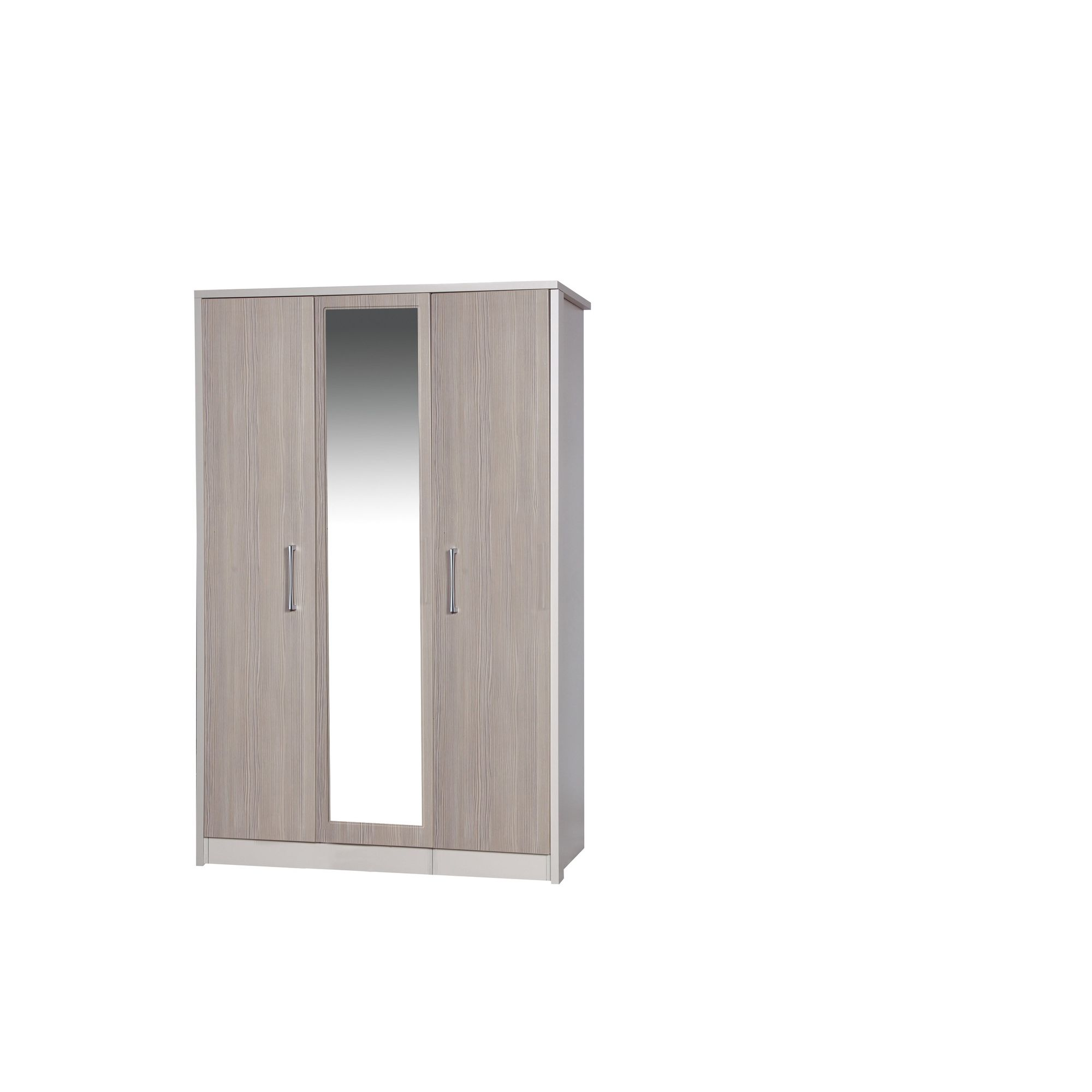 Alto Furniture Avola 3 Door Wardrobe with Mirror - Cream Carcass With Champagne Avola at Tesco Direct