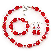 Red Glass/Crystal Bead Necklace, Flex Bracelet & Drop Earrings Set In Silver Plating - 44cm Length/ 5cm Extension