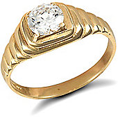 Jewelco London 9ct Solid Gold men's CZ set solitaire Ring with ribbed shoulders