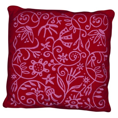 buy flower embroidered cushion red from our cushions range. Black Bedroom Furniture Sets. Home Design Ideas