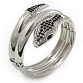 Black/Clear Swarovski Crystal 'Snake' Hinged Bangle Bracelet In Rhodium Plating - 19cm Length