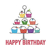 Holy Mackerel Greetings Card- Cupcake stand birthday card