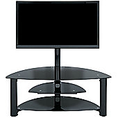 LEVV Black Glass Corner Cantilever TV Stand