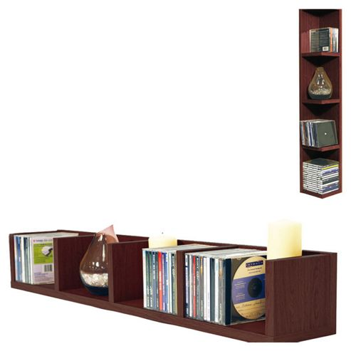 Techstyle CD / DVD / VIDEO Multimedia Wall Storage Shelf - Dark Oak