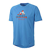 Adidas Men's HT DR Logo Blue Hiking Dri-Release T-Shirt - Blue