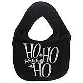 Dirty Fingers Ho Ho Ho Festive Christmas Baby Bib Black