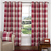 Hamilton McBride Check Lined Eyelet Curtains - Red