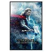 Gloss Black Framed Marvel Thor The Dark World Chris Hemsworth as Thor Poster