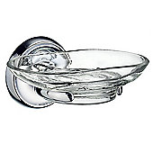 Smedbo Villa Holder with Glass Soap Dish - Polished Chrome