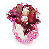 Pink Shell Chip & Freshwater Pearl Cluster Flex Ring