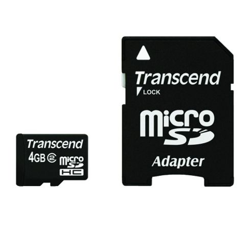Transcend microSDHC 4GB Class 2 Card + SD Adapter