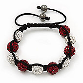 Unisex Shamballa Bracelet Crystal Burgundy Red/Clear Swarovski Crystal Beads 10mm - Adjustable
