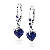 QP Jewellers Diamond & Sapphire Affection Heart Earrings in 14K White Gold