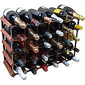 Harbour Housewares 30 Bottle Wine Rack - Fully Assembled - Dark Wood