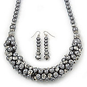 Metallic Silver/Grey Faux Pearl/ Glass Crystal Cluster Necklace & Drop Earrings Set In Silver Plating - 38cm Length/ 6cm Extender