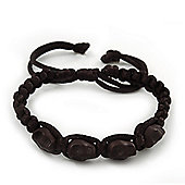 Black Acrylic 'Skull' Shamballa Bracelet - 11mm - Adjustable