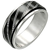 Urban Male Spinning Worry Ring for Men 8mm Two Colour Stripe Design