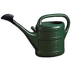 10L Dark Green Plastic Garden Watering Can with Rose
