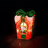 Battery Operated 29cm Red Sisal Giftbox with 20 Warm White LEDs