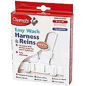 Clippasafe Easy Wash Harness & Reins - White