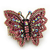 Madame Butterfly Statement Stretch Burn Gold Ring (Pink Finish) - Adjustable size 7/8