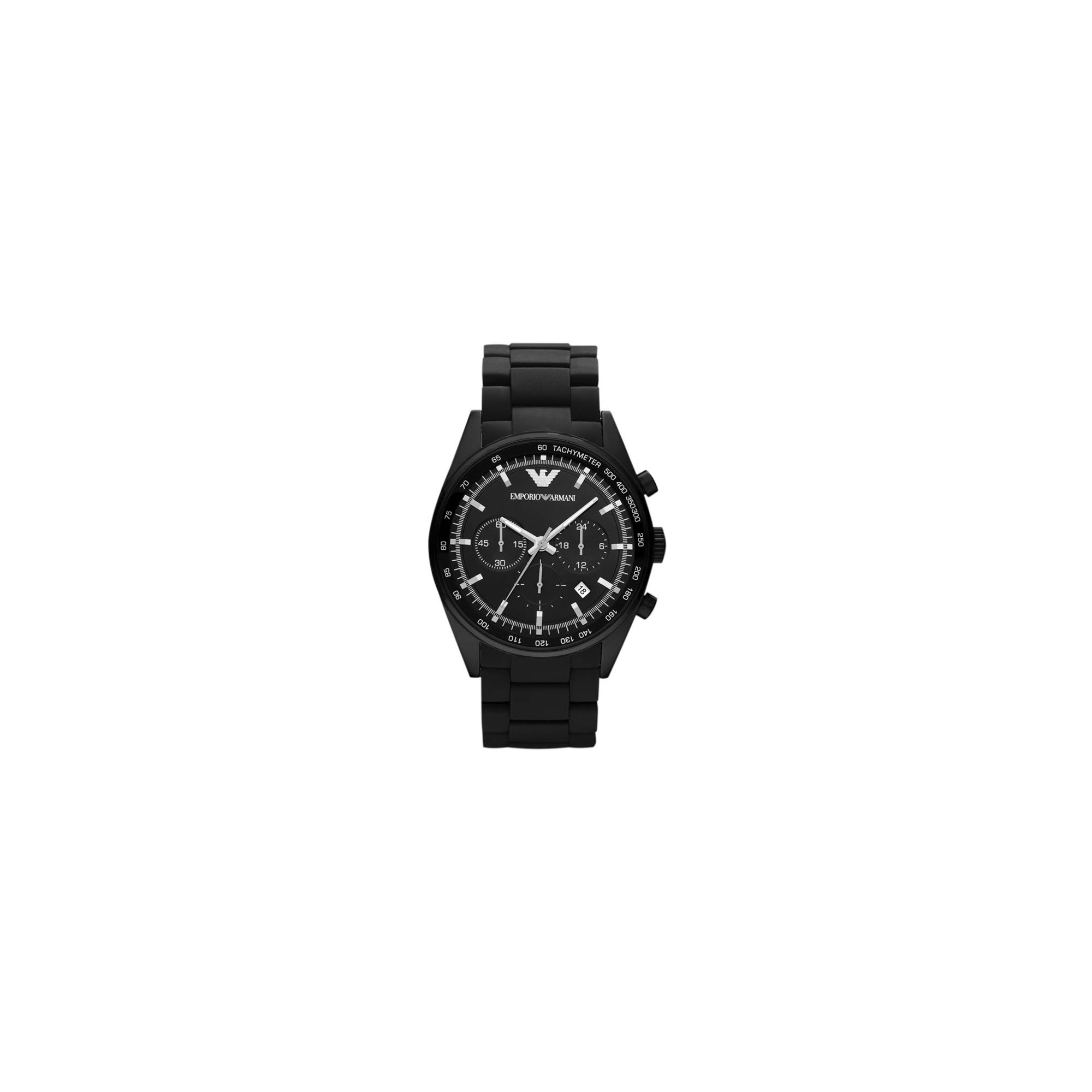Emporio Armani Black Rubber Strap Chrono Watch AR5981 at Tesco Direct