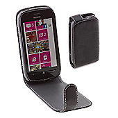 Works with Nokia Licensed Leather Alpha Vertical Flip Case Cover for Nokia Lumia 710 - Black