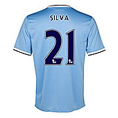 2013-14 Man City Home Shirt (Silva 21) - Ocean blue