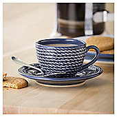 Harbour Rope Espresso Earthenware, Cup - Navy