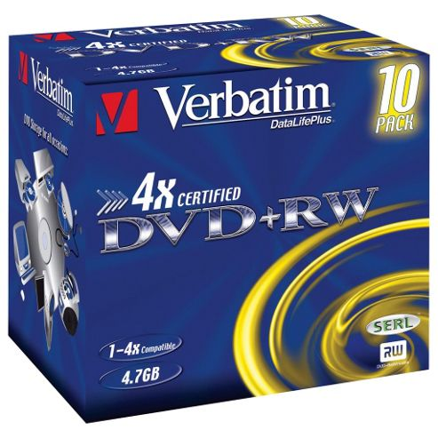 Verbatim DVD+RW 4X 4.7GB 120Min 10 Pack Jewel Case