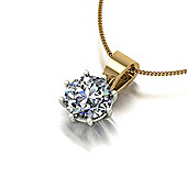 18ct Gold 6.5mm Moissanite Pendant and Chain