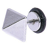 Urban Male Stainless Steel Fake Ear Expander Square Spike Stud Earring in Silver