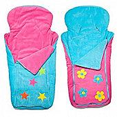 Cozyosko BuggyBag Footmuff (Aqua Stars/Pink Flowers)