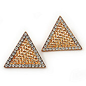 Gold Plated Textured Diamante Triangular Stud Earrings - 2.5cm Length