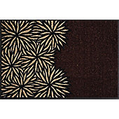 Wash & Dry by Kleen-Tex Dahlia Brown Flat Bordered Rug - 50cmx75cm