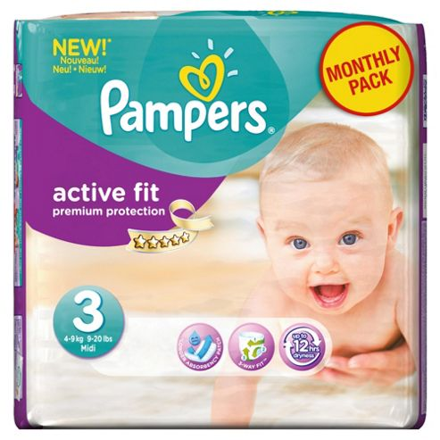 Pampers Active Fit Size 3 Monthly Pack - 204 Nappies