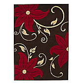 Think Rugs Verona Brown/Red Hand Carved Floral Rug - 60 cm x 120 cm (2 ft x 4 ft)