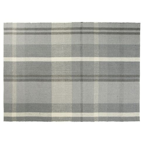 buy tartan flat weave rug 80 x 150cm grey from our rugs. Black Bedroom Furniture Sets. Home Design Ideas