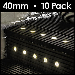 MiniSun Pack of 10 40mm Warm White LED Decking Lights