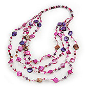 Magenta/Purple/Pink Multistrand Shell Necklace - 90cm Length