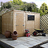 Mercia Garden Products Shiplap OSB Pent Shed with Single Door and Pad Bolt - 196 cm H x 182 cm W x 127 cm D