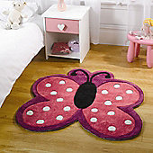 Rugs with Flair Kiddy Play Polka Butterfly Multi Kids Rug - Novelty Shaped 90cm x 90cm