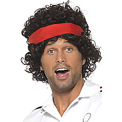80S Tennis Player Wig With Headband