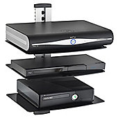 VonHaus 3x Silver Floating Shelves with Tempered Glass for DVD/Blu-Ray Players/Sky Boxes/Game Consoles/TV Accessories