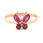 QP Jewellers 0.60ct Ruby Butterfly Ring in 14K Rose Gold